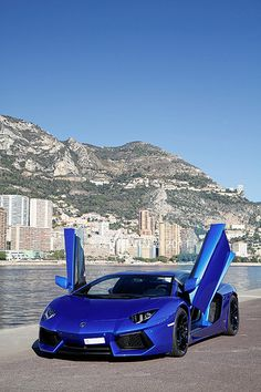 Blue Lamborghini Aventador... It's the perfect shade of blue. Want but most likely never going to happen