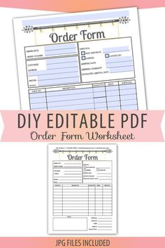 Fillable/Editable Text only PDF Order Form Invoice Blank Letter Size Forms Sales Sheet Orders Receip Order Form Template Free, Invoice Template, Craft Business, Business Ideas, Letter Size, Craft Fairs, Pdf, Printables, Lettering