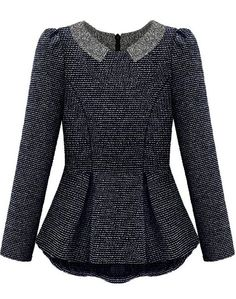 Blue Long Sleeve Ruffle Back Zipper Blouse - Sheinside.com