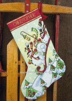 Buy Sledding Snowman Stocking Cross Stitch Kit Online at www.sewandso.co.uk