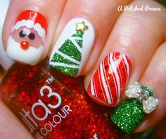 108 Christmas Beautiful Color and Wonderful DIY Nails Arts Design - Christmas Nails Xmas Nail Art, Christmas Nail Art Designs, Holiday Nail Art, Xmas Nails, Nail Art Diy, Christmas Nails, Diy Nails, Cute Nails, Vacation Nail Art