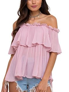 New Trending Crop Tops: Simplee Apparel Women's Casual Off Shoulder Ruffle Sheer Chiffon Top Blouse Shirt Pink. Special Offer: $15.99 amazon.com Measurement Designed and produced by USA standard size. This is our size for your reference: Inch S=US 0-2 / UK 6 : —Bust :33.1″ —Shoulder :14.6″ —Sleeve :8.7″ —Length :18.5″ M=US 4-6 / UK 8 : —Bust...
