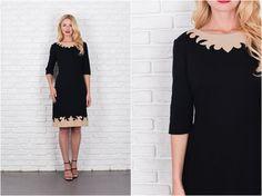 Vintage 60s 70s Black  Beige Mod Dress Sweater by thekissingtree