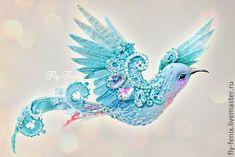 """Купить брошь - птица """"седьмое небо"""" - бирюзовый, колибри, птица, птичка, пташка, маленькая брошь"""