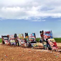 The Cadillac Ranch just west of Amarillo, Texas along Interstate 40.