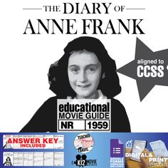 The Diary of Anne Frank Movie Guide | Questions | Worksheet (NR - 1959) challenges students to take a deeper look at this famous heroic story of #AnneFrank. #DiaryOfAnneFrank #TheDiaryOfAnneFrank #GoogleClassroom #GoogleForms #Teachers #MovieGuides #LessonPlans #TPT #TeachersPayTeachers #CCSS #Homeschooling #RemoteLearning #DistanceLearning