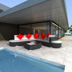 Salon de jardin en rotin Demi cercle Noir - 41006 - Jardin piscine ...