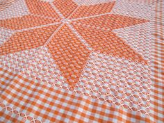 Orange and white gingham tablecloth with chicken scratch by SandrasCornerStore, $24.99