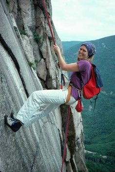 I just love old school climbing shots. This gal (rapping on Cannon Cliff, NH) is wearing the classic late 70's style - a Whillans Sit Harness, EB shoes and white painter's pants.