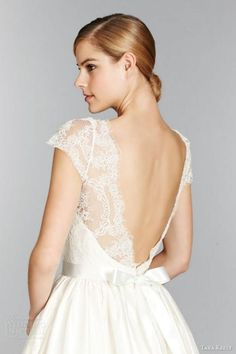 Weddbook ♥ Lace Illusion Bateau Neckline, Lace Bodice Cap Sleeve Ball Gown Wedding Dress. Ivory lace illusion neckline, short sleeves and deep V-back, ribbon sash at natural waist,  sweep train wedding gown. Tara Keely Fall 2013 Bridal Collection. lace bow gift
