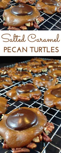 Salted Caramel Pecan Turtles. Chocolate and caramel, salty and sweet. Easiest candy to make. Ever. No candy thermometer. Perfect gift or treat.