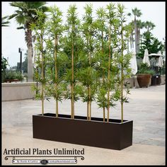 """Outdoor Artificial Bamboo in Modern Fiberglass Planter 72""""L. Easily create privacy outside!"""