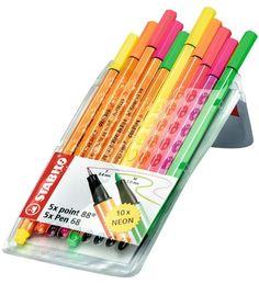 Stabilo Pointi 88/68 mm Neon 10 kpl kynä  (7,90€) Tässä on sekä kuitukärkisinä, että tussimaisina. Handwriting, Stationary, Neon, Calligraphy, Hand Lettering, Neon Colors, Hand Drawn Type, Penmanship, Hand Drawn Typography