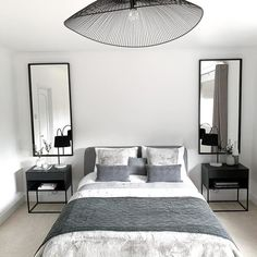 A clean, simple design that fits nicely next to high beds. Black And Grey Bedroom, Grey Bedroom Decor, Bedroom Decor For Couples, Small Room Bedroom, Room Ideas Bedroom, Decor Room, Home Bedroom, Small Bedroom Decorating, Wall Art For Bedroom