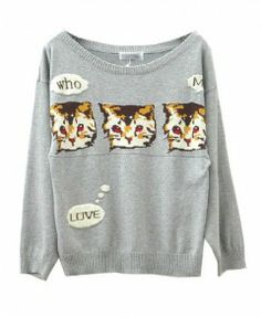 Round Neckline Pullover with Three Lovely Cats