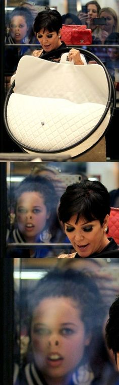 Kris Jenner with Oversized Purse Kardashian Photobomb Girl ---- hilarious jokes funny pictures walmart humor fails
