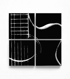 Acoustic Guitar Abstraction Set of 4 (6 x 6 inches each) Black and White Modern Home Decor, Music Wall Art, Handmade Musical Instrument Gift, Great gift for musician or music lover