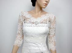 lace shrugs | neck Alencon Lace Bridal Bolero Wedding jacket shrug WJ004