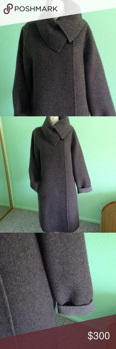 Size M Eileen Fisher baby Alpaca long coat/ jacket Size M Eileen Fisher 70%baby Alpaca 30% wool long coat/ jacket in excellent like new condition with pocket one it is double face one side is light brown and other side ( front) is brown very warm and not heavy , this is a rare found, please check all the picture for different looks Eileen Fisher Jackets & Coats