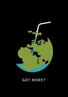This graphic is a thought provocer, the Earth is acting as a juice box and the water is almost gone, but while it seems like a simple message, once you take the whole picture in, you realize we're running out clean water and that's a problem.