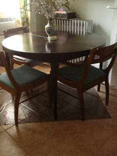 Mid-Century Round Wood Dining Table
