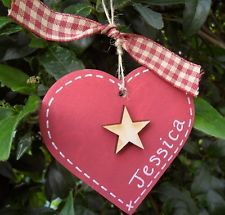 HANDMADE WOODEN CHRISTMAS TREE DECORATION - PERSONALISED HEART