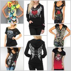 Sinful Angel Wings Long Sleeve Womens Hoodie Skull Cross T-shirt Sweatshirt S-XL
