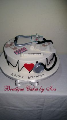 Cake for doctor by Iva Halacheva Doctor Birthday Cake, Doctor Cake, Themed Birthday Cakes, Themed Cakes, Cake Decorating Designs, Cake Designs, Crazy Cakes, Fancy Cakes, Beautiful Cakes