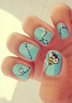 Creative Spring Nail Art 2015|Blue Nails by Makeup Tutorials at http://www.makeuptutorials.com/nail-designs-spring-nail-art