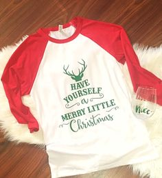 Ready to Ship, Have Yourself a Merry Little Christmas raglan shirt, Unisex, Christmas Shirt, Holiday Shirt, Christmas Apparel by ShopatBash on Etsy