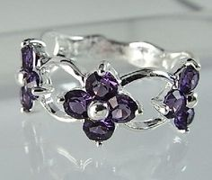 Beautiful Amethyst Cocktail  Silver Ring for $25