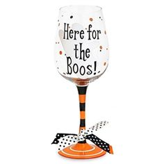 This fun Halloween wine glass says I'm Here For the Boos! Decorated with orange and black stripes on the stem and polka dots on the bowl, this Halloween wine glass is frighteningly cute. Packaged in a clear acrylic gift box.