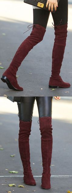 Burgundy Lacing Back Stretched Suede Over The Knee Boots