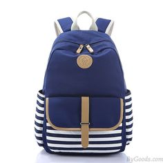 Wow~ I found Simple Stripe Backpack Canvas School Bag Travel Bag only $32.99 from ByGoods.com! I like it <3! Do you like it,too?