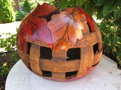 pic of wood burned gourds | Basket weave with wood burned leaves gourd by Pat | Gourds/Gourd Art