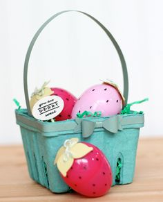 Adorable recycled Easter Basket ~ Love the strawberry Easter eggs!
