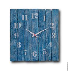 Купить Синие, большие, деревянные часы - синий, настенные часы, деревянные часы, большие часы