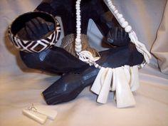 Unusual   African White Buffalo bone necklace set  with resin bangle   www.africanculturaljewelry.com
