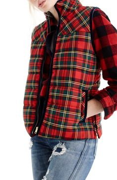 Examine our good selection of women's top including puffer vest, down top, quilted vest. Cheap Clothes, Clothes For Women, Clothes Sale, Stylish Clothes, Stylish Outfits, Style Anglais, Tartan Fashion, Puffer Vest, Tartan Plaid