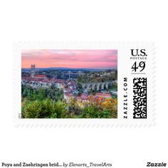 Poya and Zaehringen bridge, Fribourg, Switzerland Postage