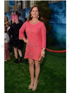 Marcia Gay Harden Pink Lace and Golden Embroidery Long Sleeve Short/Mini Celebrity Dress