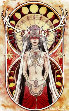 "Yoni is one of the most primeval forms of the goddess. She represents the origin of life, the womb or ""secred temple"" in Hindu philosophy, the creative force of the Shakti/Devi. She's doing a ""yoni mudra"" with her hands (a symbolic hindu gesture that repr Pagan Art, Occult Art, Art Vintage, Goddess Art, Celtic Goddess, Goddess Tattoo, Kali Goddess, Celtic Mythology, Moon Goddess"