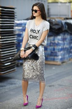 Holy Chic! Tee, Sequin Skirt & Bright Pumps