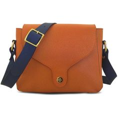 C.Nicol - Fia Soft Satchel Oranges & Navy (€480) ❤ liked on Polyvore featuring bags, handbags, brown satchel handbag, orange handbags, orange purse, handbags totes and satchel purses