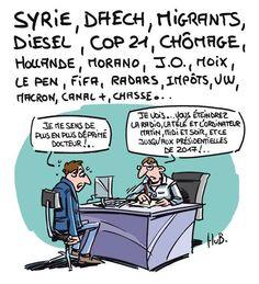 Infos des médias: Syrie, Daech, Migrants, Pollution, Hollande, Marisol Touraine, Taubira, Relaxes, Taxes, Racisme, Chômage, JO, Le Pen, FIFA, Radars, Impôts, VW, Macron, Obama, Intégrisme, Fanatisme... - Je me sens de plus en plus déprimé Docteur. - Je...