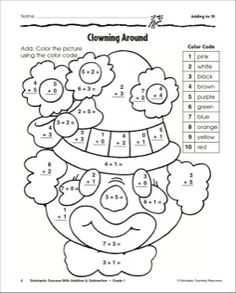 Adding to Ten-Clown: Math Practice Page