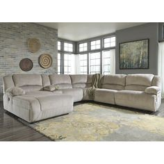 Signature Design By Ashley Toletta   Granite Power Reclining Sectional With  Console U0026 Left Press Back