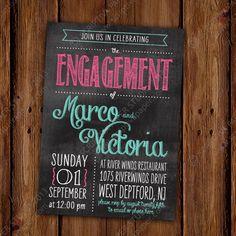 Chalkboard Engagement Party Invitation  by ScriptivaPaper on Etsy, $16.00