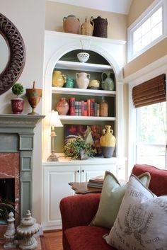 Savvy Southern Style: Paint the back of shelfs