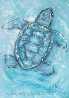 ACEO Baby Sea Turtle Original Mixed Media by kathrynsangels, $19.99